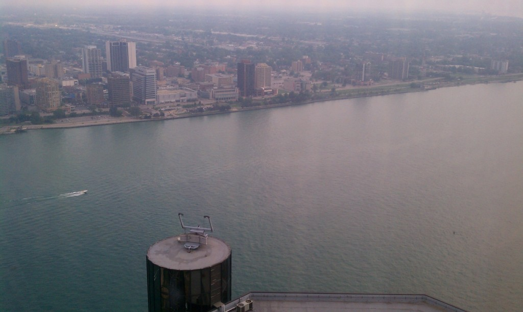 The Detroit River and Windsor, as viewed from the Renaissance Center