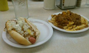 Coney and fries from Lafayette Coney Island