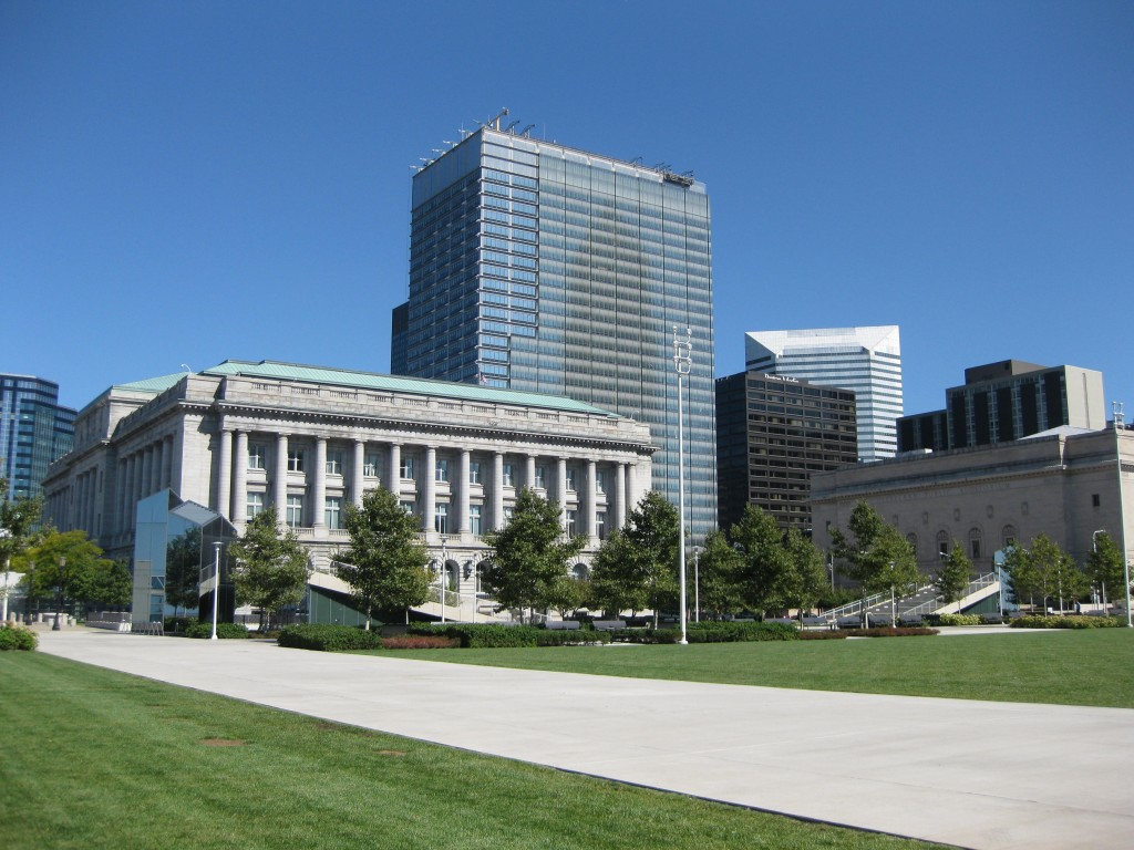Cleveland City Hall and the downtown skyline