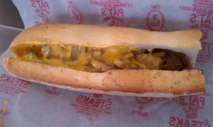 Cheesesteak from Pat's King of Steaks Philadelphia sports teams travel guide