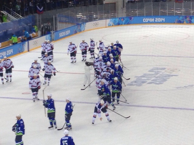 2014 Winter Olympics Sochi USA vs Slovenia hockey handshake