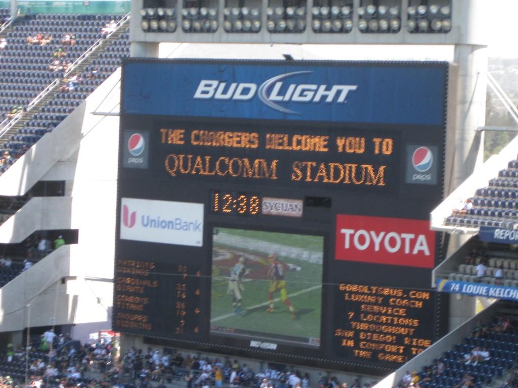 Qualcomm Stadium scoreboard