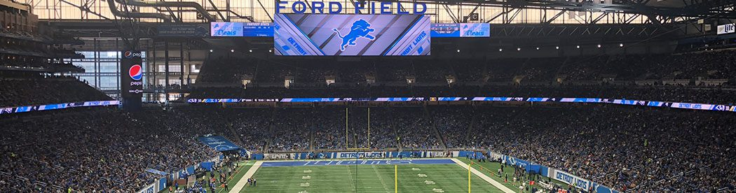 Ford Field Detroit Lions stadium events parking seating hotels food