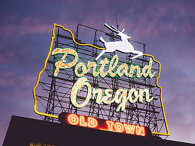 White Stag sign Portland sports teams travel guide