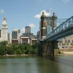 Cincinnati skyline and Roebling Bridge