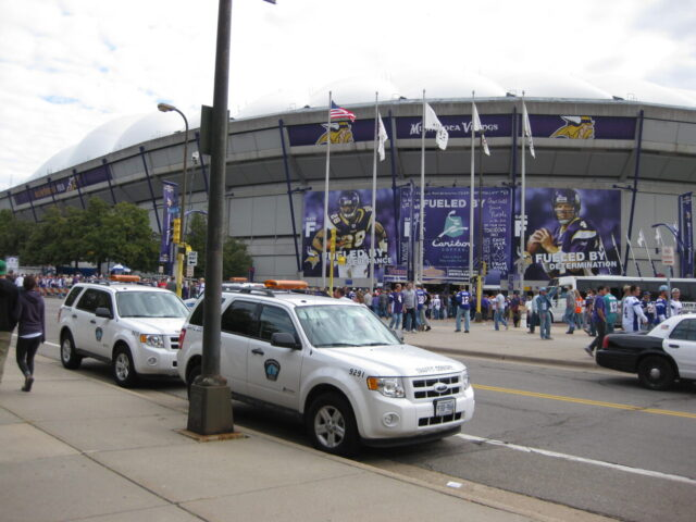 Outside the Metrodome in Minneapolis
