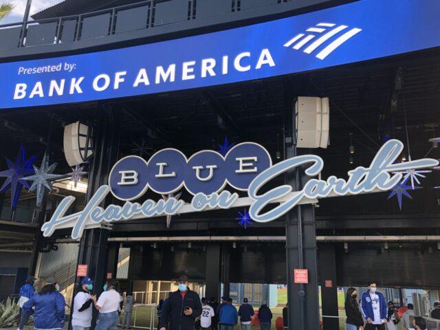 Dodger Stadium Blue Heaven on Earth sign