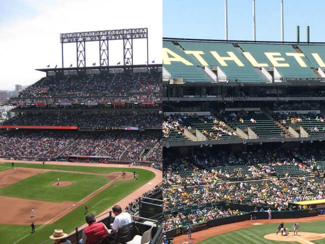 Oracle Park and Oakland Coliseum
