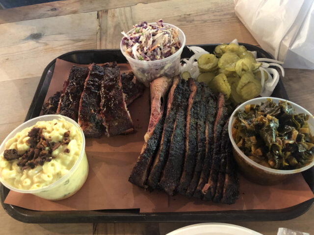 BBQ spread from Pecan Lodge